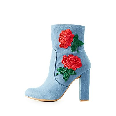 Bamboo Embroidered Denim Ankle Booties