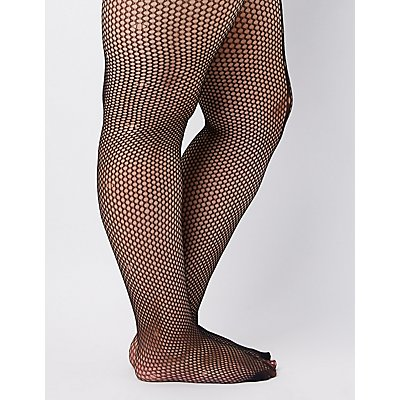 Plus Size Seamed Fishnet Tights