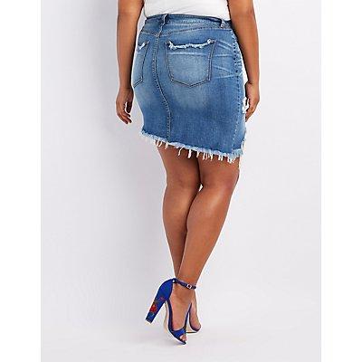 Plus Size Refuge Destroyed Denim Asymmetrical Skirt