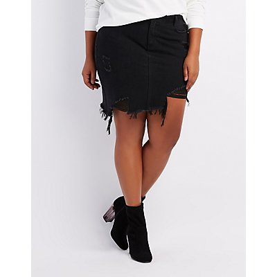 Plus Size Refuge Destroyed Denim Asymmetrical Skirt
