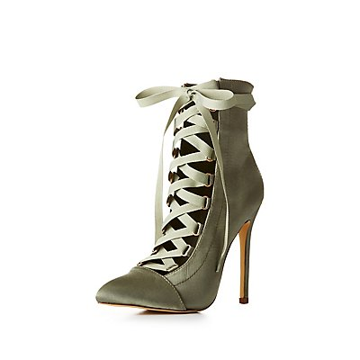 Pointed Toe Lace-Up Ankle Booties