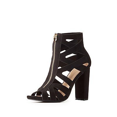 Caged Zip-Front Sandals