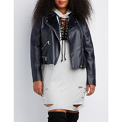 Plus Size Fleece Lined Moto Jacket