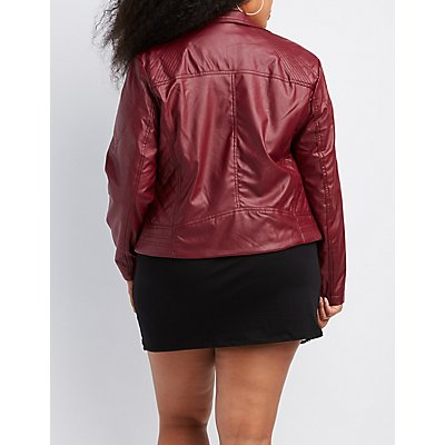 Plus Size Faux Leather Quilted-Trim Moto Jacket