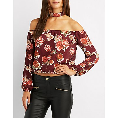 Floral Choker Neck Off-The-Shoulder Top