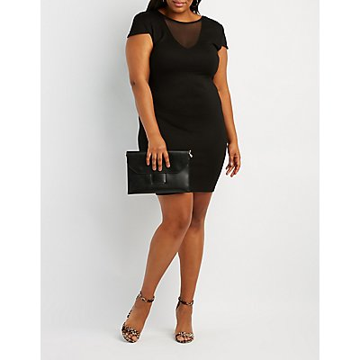 Plus Size Mesh Inset Bodycon Dress