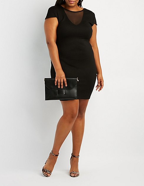 Plus Size Mesh Inset Bodycon Dress Charlotte Russe