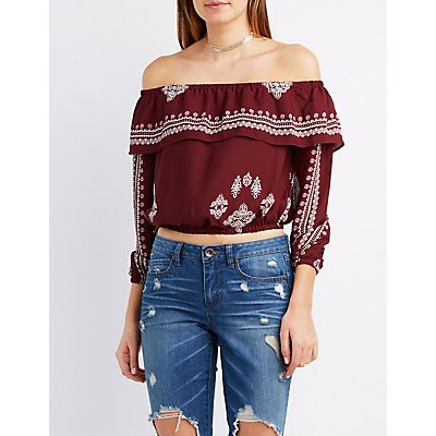 Printed Ruffle Off-The-Shoulder Top