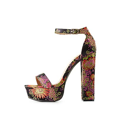 Brocade Two-Piece Platform Sandals
