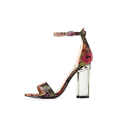 Brocade Two-Piece Lucite Heel Sandals