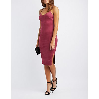 Faux Suede Midi Slip Dress