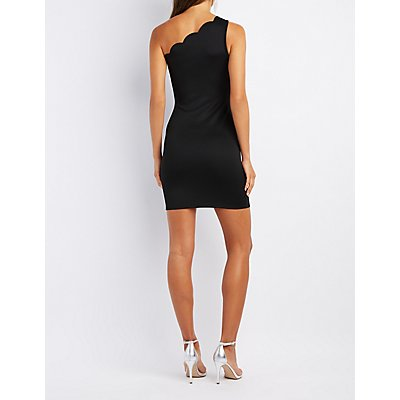 Scalloped One-Shoulder Bodycon Dress