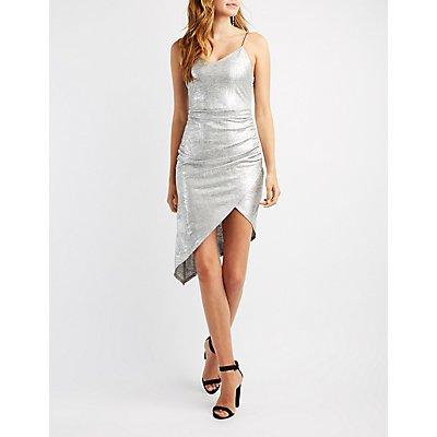 Metallic Lurex Wrap Bodycon Dress