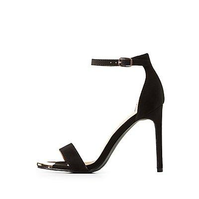 Metal-Trim Ankle Strap Sandals