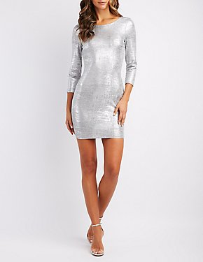 Metallic Backless Bodycon Dress