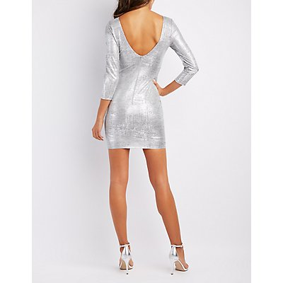Metallic Backless Bodycon Dress