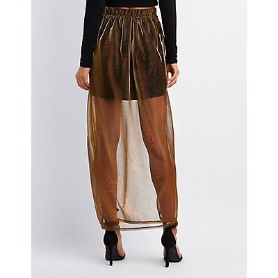 Metallic Mesh Overlay Maxi Skirt