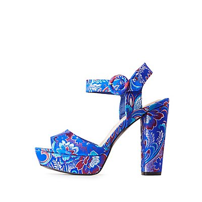 Qupid Brocade Two-Piece Platform Sandals