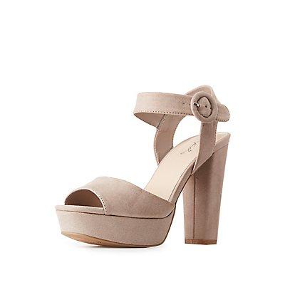 Qupid Ankle Strap Platform Sandals