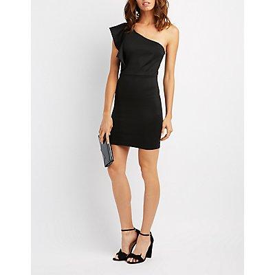 Ruffle-Trim One-Shoulder Bodycon Dress
