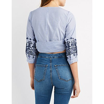 Stiped & Embroidered Wrap Crop Top
