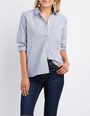 Striped Bow-Back Button-Up Shirt