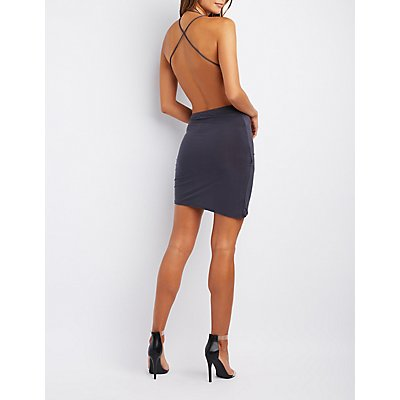 Strappy Cowl Neck Open-Back Dress