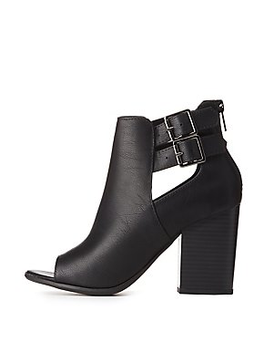 Peep-Toe Cut-Out Booties