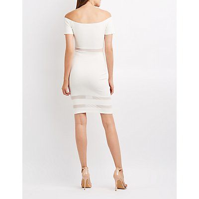 Off-The-Shoulder Mesh-Inset Bodycon Dress