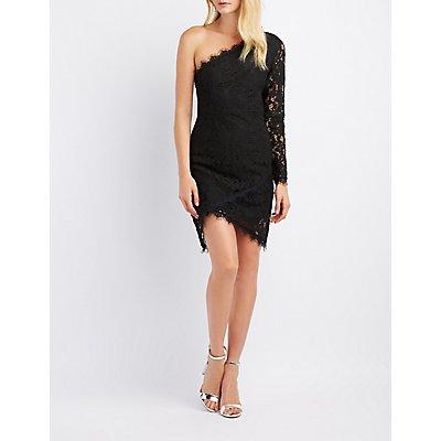 Lace One-Shoulder Bodycon Dress