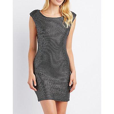 Metallic Polka Dot Bodycon Dress