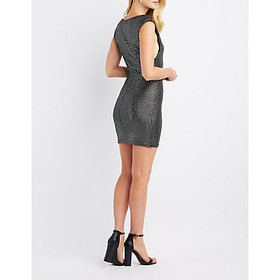Metallic Polka Dot Bodycon Dress