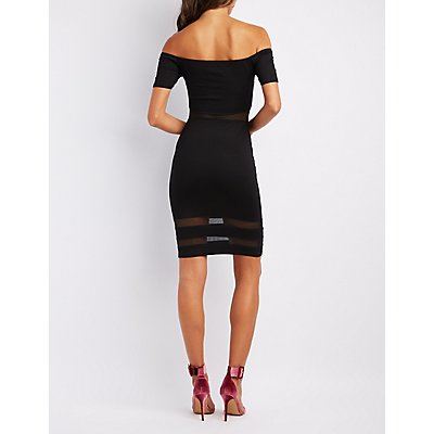 Mesh-Inset Off-The-Shoulder Bodycon Dress
