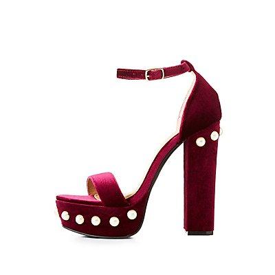Pearl-Trim Velvet Platform Sandals