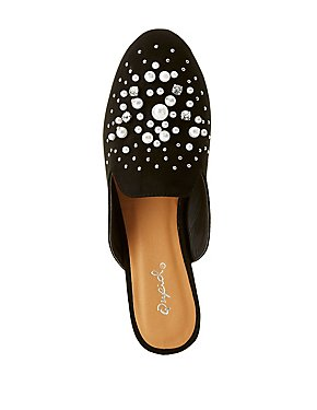Qupid Embellished Loafer Mules