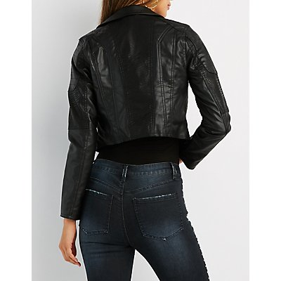 Quilted-Trim Moto Jacket
