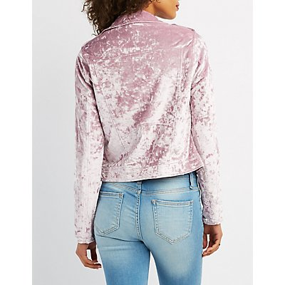 Crushed Velvet Moto Jacket