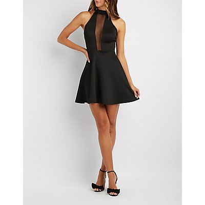 Mock Neck Mesh-Inset Skater Dress