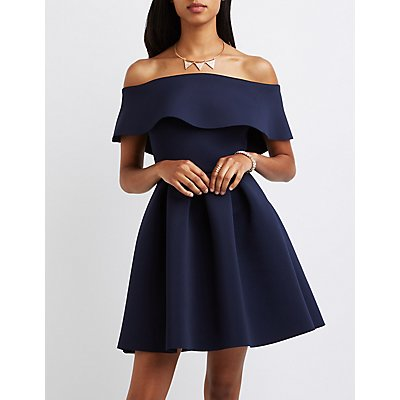 Off-The-Shoulder Scuba Skater Dress