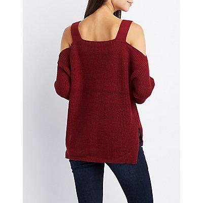 Grommet-Trim Cold Shoulder Sweater
