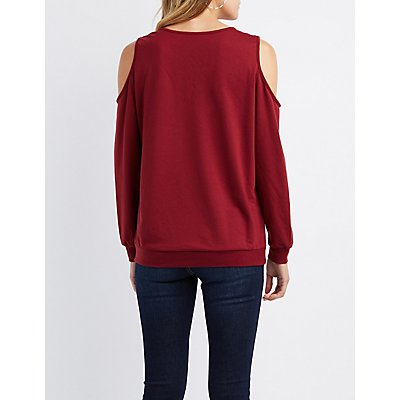 Cold Shoulder Lace-Up Detail Sweatshirt