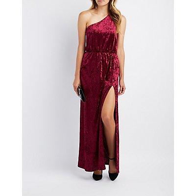 Velvet One-Shoulder Maxi Dress