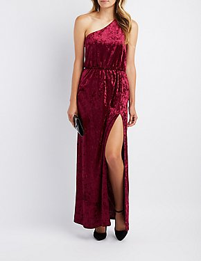 Velvet One-Shoulder Maxi Dress