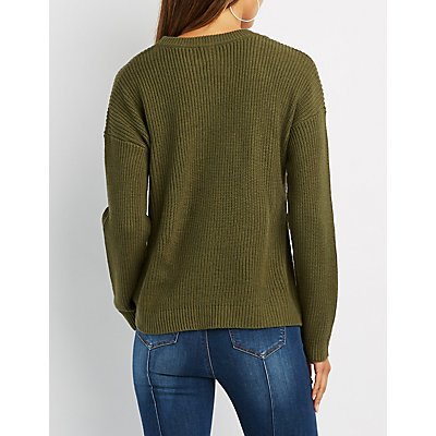 Shaker Stitch Lace-Up Detail Sweater