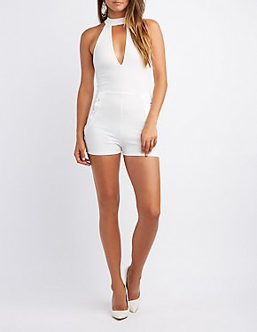 Mock Neck Lace-Up Romper