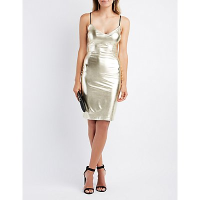 Liquid Metallic Bodycon Dress