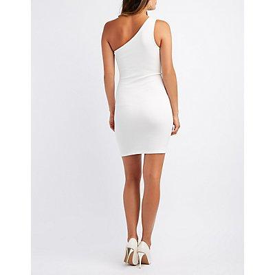 Studded One Shoulder Bodycon Dress