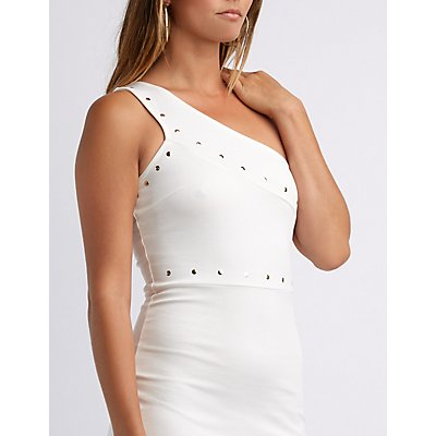 Studded One Shoulder Bodycon Dress