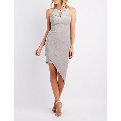 Shimmer Keyhole Asymmetrical Dress