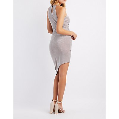 Shimmer Keyhole Asymmetrical Dress